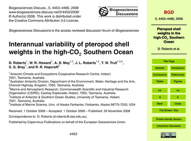 Interannual Variability of Pteropod Shel... by Roberts, D.