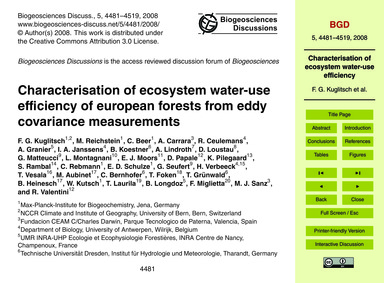 Characterisation of Ecosystem Water-use ... by Kuglitsch, F. G.