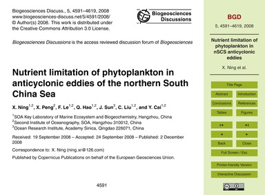 Nutrient Limitation of Phytoplankton in ... by Ning, X.