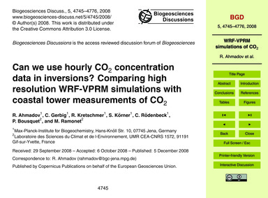 Can We Use Hourly Co2 Concentration Data... by Ahmadov, R.