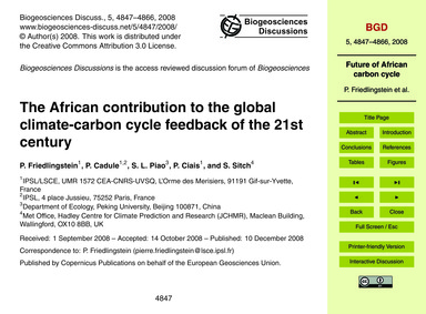 The African Contribution to the Global C... by Friedlingstein, P.