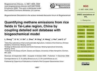 Quantifying Methane Emissions from Rice ... by Zhang, L.