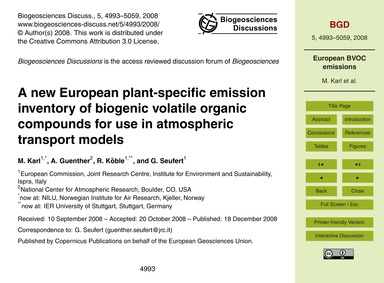 A New European Plant-specific Emission I... by Karl, M.
