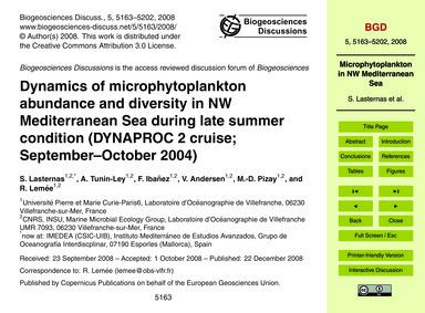 Dynamics of Microphytoplankton Abundance... by Lasternas, S.