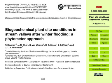 Biogeochemical Plant Site Conditions in ... by Beumer, V.