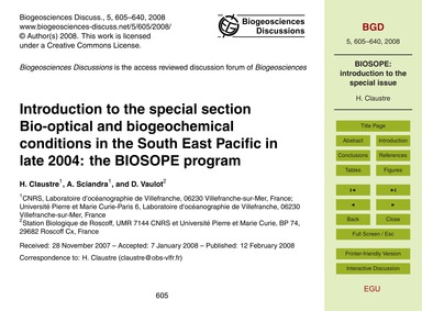 Introduction to the Special Section Bio-... by Claustre, H.