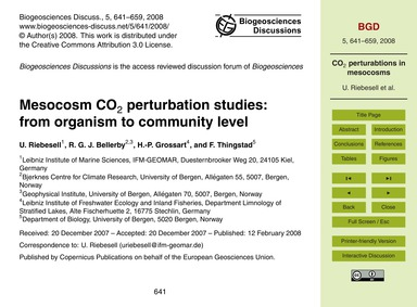 Mesocosm Co2 Perturbation Studies: from ... by Riebesell, U.