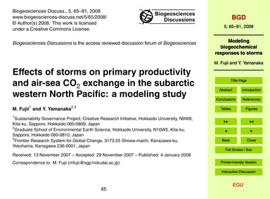 Effects of Storms on Primary Productivit... by Fujii, M.
