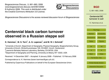 Centennial Black Carbon Turnover Observe... by Hammes, K.