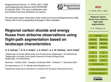 Regional Carbon Dioxide and Energy Fluxe... by Vellinga, O. S.