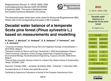 Decadal Water Balance of a Temperate Sco... by Gielen, B.