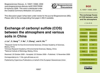 Exchange of Carbonyl Sulfide (Cos) Betwe... by Liu, J.