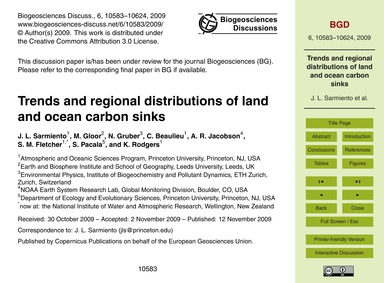 Trends and Regional Distributions of Lan... by Sarmiento, J. L.