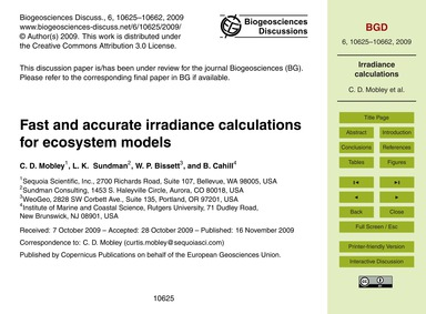 Fast and Accurate Irradiance Calculation... by Mobley, C. D.