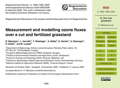 Measurement and Modelling Ozone Fluxes O... by Mészáros, R.