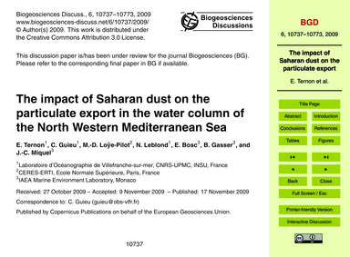 The Impact of Saharan Dust on the Partic... by Ternon, E.