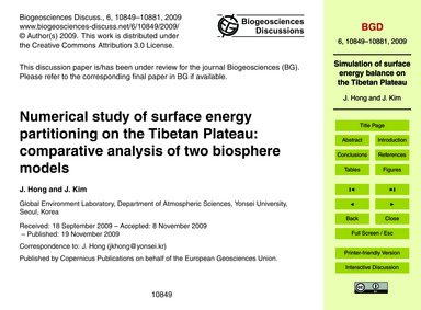 Numerical Study of Surface Energy Partit... by Hong, J.