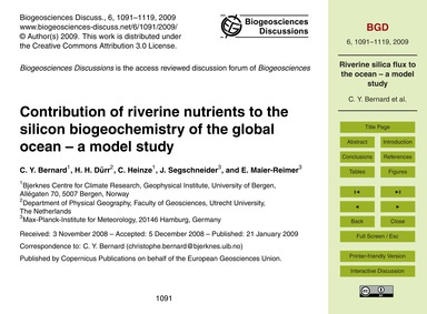 Contribution of Riverine Nutrients to th... by Bernard, C. Y.