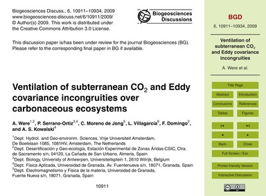 Ventilation of Subterranean Co2 and Eddy... by Were, A.