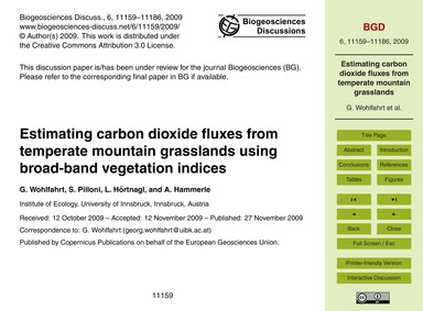 Estimating Carbon Dioxide Fluxes from Te... by Wohlfahrt, G.