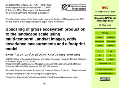 Upscaling of Gross Ecosystem Production ... by Chen, B.