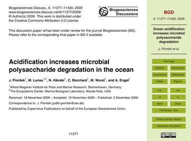 Acidification Increases Microbial Polysa... by Piontek, J.