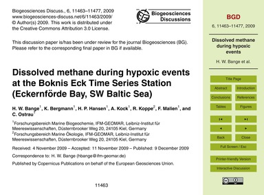 Dissolved Methane During Hypoxic Events ... by Bange, H. W.