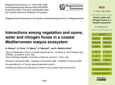 Interactions Among Vegetation and Ozone,... by Gerosa, G.