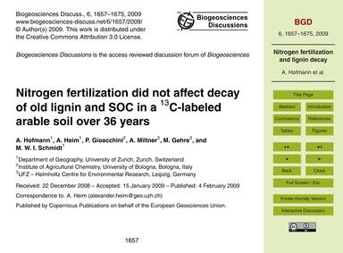 Nitrogen Fertilization Did Not Affect De... by Hofmann, A.