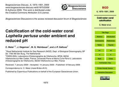 Calcification of the Cold-water Coral Lo... by Maier, C.