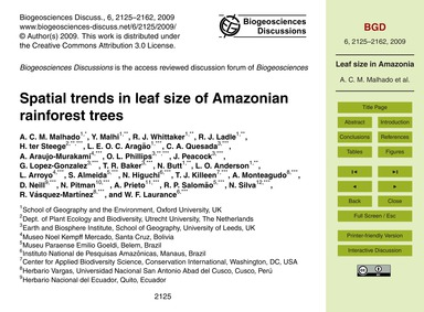 Spatial Trends in Leaf Size of Amazonian... by Malhado, A. C. M.