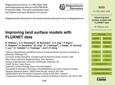 Improving Land Surface Models with Fluxn... by Williams, M.