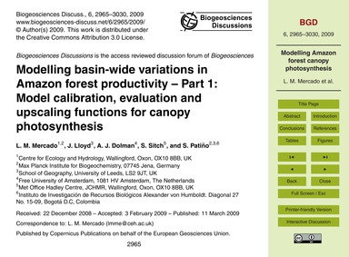 Modelling Basin-wide Variations in Amazo... by Mercado, L. M.