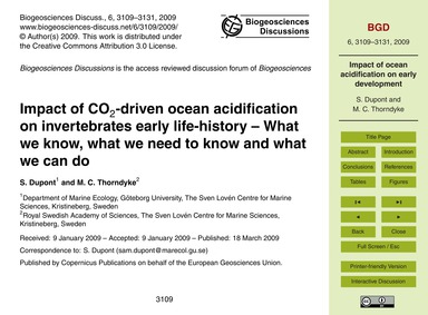 Impact of Co2-driven Ocean Acidification... by Dupont, S.