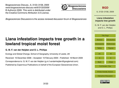 Liana Infestation Impacts Tree Growth in... by Van Der Heijden, G. M. F.