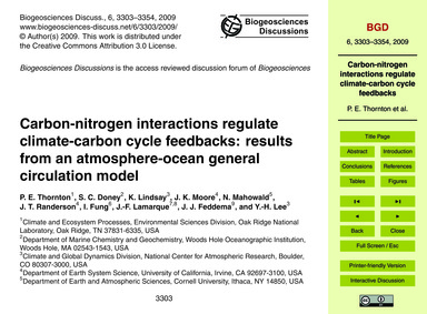 Carbon-nitrogen Interactions Regulate Cl... by Thornton, P. E.