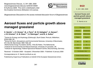 Aerosol Fluxes and Particle Growth Above... by Nemitz, E.