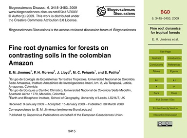 Fine Root Dynamics for Forests on Contra... by Jiménez, E. M.
