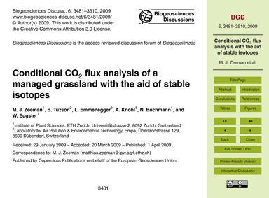 Conditional Co2 Flux Analysis of a Manag... by Zeeman, M. J.