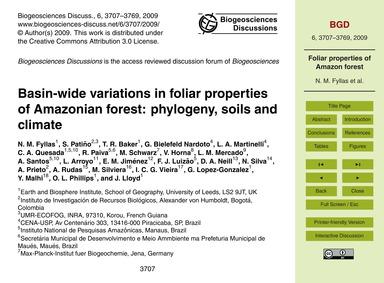 Basin-wide Variations in Foliar Properti... by Fyllas, N. M.