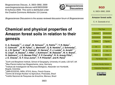 Chemical and Physical Properties of Amaz... by Quesada, C. A.