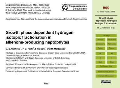 Growth Phase Dependent Hydrogen Isotopic... by Wolhowe, M. D.