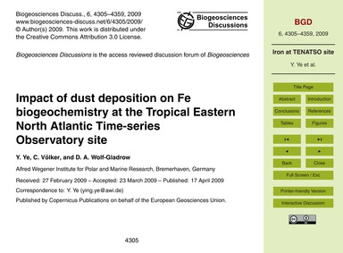 Impact of Dust Deposition on Fe Biogeoch... by Ye, Y.