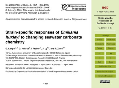 Strain-specific Responses of Emiliania H... by Langer, G.