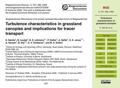 Turbulence Characteristics in Grassland ... by Nemitz, E.
