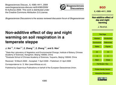 Non-additive Effect of Day and Night War... by Xia, J.