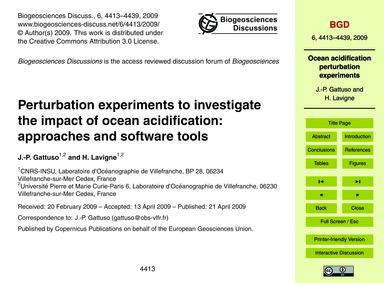 Perturbation Experiments to Investigate ... by Gattuso, J.-p.