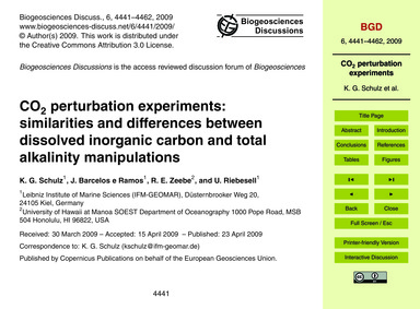 Co2 Perturbation Experiments: Similariti... by Schulz, K. G.