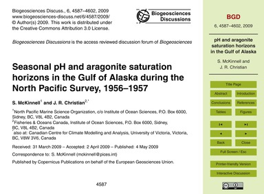 Seasonal Ph and Aragonite Saturation Hor... by McKinnell, S.