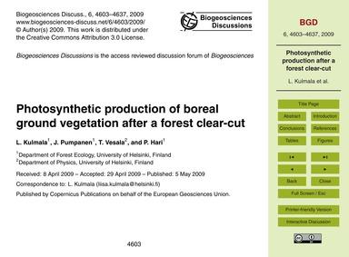 Photosynthetic Production of Boreal Grou... by Kulmala, L.